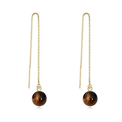 Discount TUSHUO Perfect Natural Gemstone Pendant Earring Simple Ronud Shaped Vintage Dangle Chain Earrings supplier