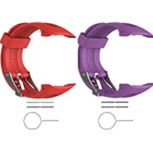 "2pcs ECSEM Straps for Large Forerunner 10/Forerunner 15 Bands Replacement Wristbands for Garmin Forerunner 10/15 GPS Smart Watch (0.98"" x 0.94"") (25 x 24 mm) 2G"