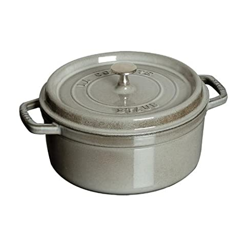 Staub 4 Quart Round Cocotte, Graphite Grey (3 4 Quart Dutch Oven)
