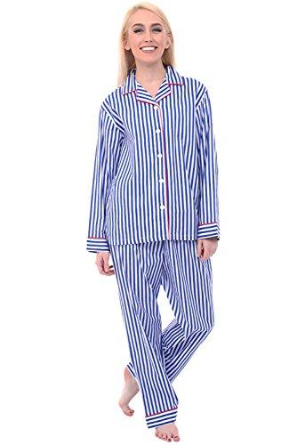 Alexander Del Rossa Womens Cotton Pajamas, Long Woven Pj Set, Medium Blue and White Striped - Pajamas Blue Striped