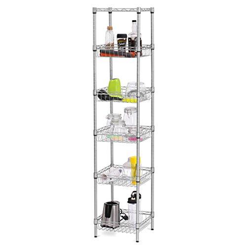 LANGRIA 6-Tier Bathroom Shelving Supreme Shelving Units, Storage Rack Corner Shelf Organization Utility Rack for Home Kitchen Living Room Bedroom Laundry Office, 198 lbs Capacity, Silver
