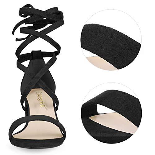 Con Mediana Negro Punta Mujer Para K Sandalias De Grueso Abierta Allegra Tacón Cordón 78aBxqYAw
