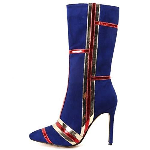 Genoux Taoffen Bottes Bleu Femmes Mode De Zipper Hauteur qXfXrxP