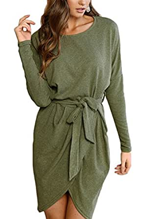 Sunfury Laides Sexy Faux Wrap Bodycon Sweater Short Knitted Dress Army Green S