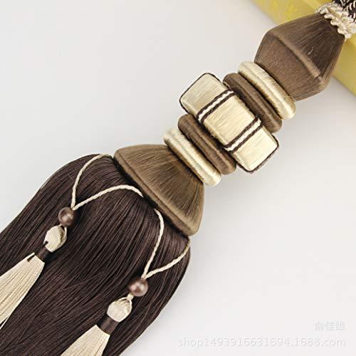 XDH-RTS 1 Pair Single Ball European Style Curtains Tassel Tiebacks Hanging Ball Tied Rope Home Decor Fringe Drapery Buckles