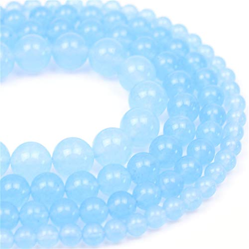 "Oameusa Natural Round Smooth 8mm Blue Chalcedony Beads Gemstone Loose Beads Agate Beads for Jewelry Making 15"" 1 Strand per Bag-Wholesale"