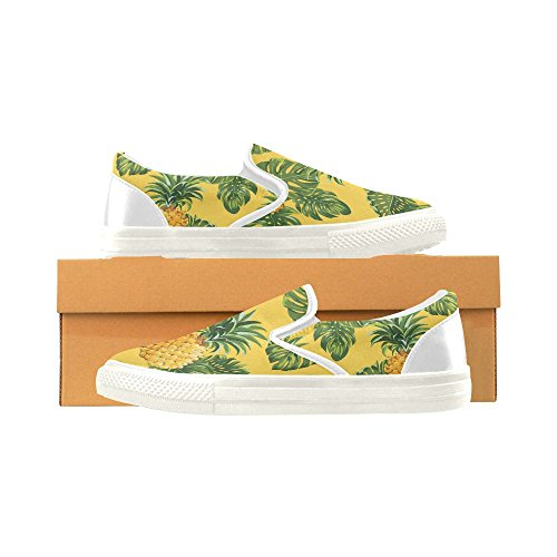 D-Story Custom Sneaker Pineapples and Tropical Leave Women Unusual Slip-on Canvas Shoes adazY