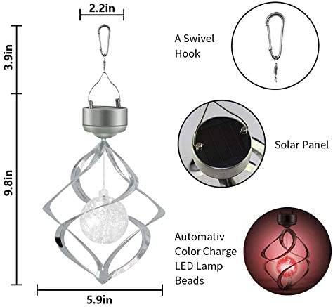 Hanging Solar Lights Outdoor Wind Chimes Lights LED Colour Changing Hanging Light for Design Decoration for Garden, Patio, Balcony Outdoor Indoor Rotating Motor