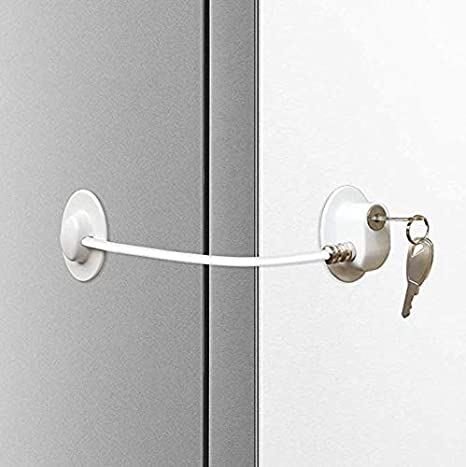 Freezer Door Lock Cabinet Lock Strong Adhesive Lock with Key Baby//Toddler//Child Safety Device Window//Door Restrictor Cable Homy Refrigerator Lock