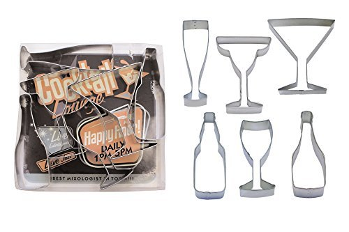 - Beverages - Wine, Champagne, Martini, Margaritas, & Beer Cookie Cutter Set - 6 Piece - 1978