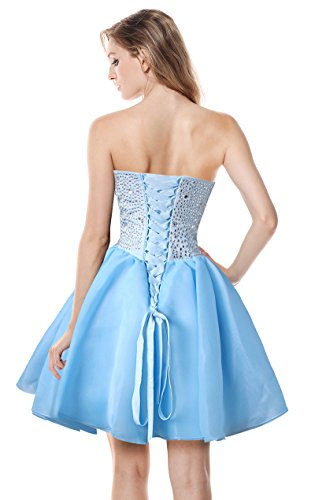 Women's Gorgeous Organza blau Party Dresses Prom Charmian Dance Cocktail Homecoming Short 5SUdWxazq