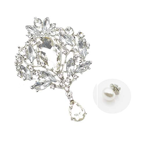 (Yilanair Wedding Bridal Big Crystal Rhinestone Bouquet Brooch Pin for Women (Silver&White))