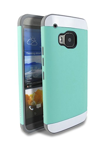 HTC One M9 (2015) Case, Kaleidio [Colour Series] Multi Tone Dual Layer Hybrid Case Protective Cover for HTC One M9 (2015) (AT&T / T-Mobile / Verizon / Sprint) [Package Includes a Overbrawn Prying Tool] - Retail Packaging [Mint Green/Grey]