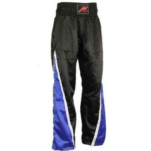 PLAYWELL Pantalon de compétition 100% satin - full-contact - noir/bleu