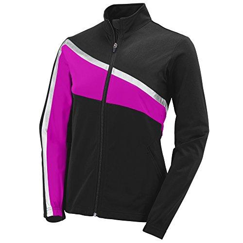 Girls Pant Tricot Brushed - Augusta Sportswear 7736 Girls' Aurora Jacket, Large, Black/Power Pink/Metallic Silver