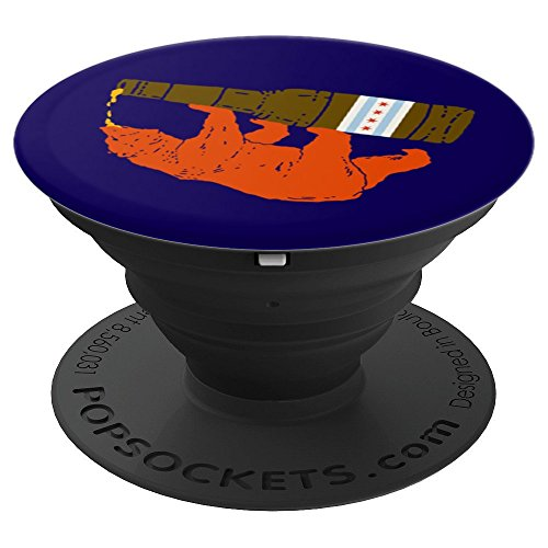 BEAR Drinking BEER City of Chicago Flag PopSocket Blue - PopSockets Grip and Stand for Phones and Tablets