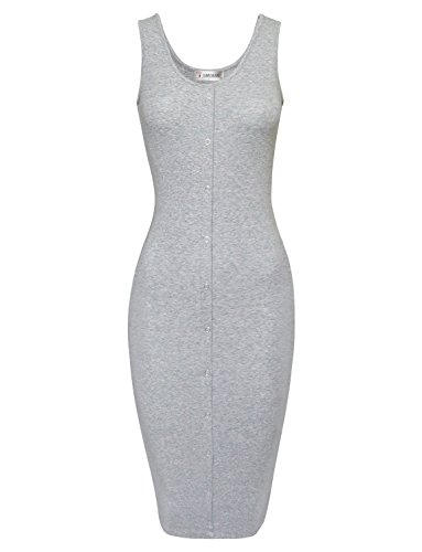 Tom's Ware Women Classy Snap Buttons Sleeveless Bodycon Dress TWCWD051A-GRAY-US L