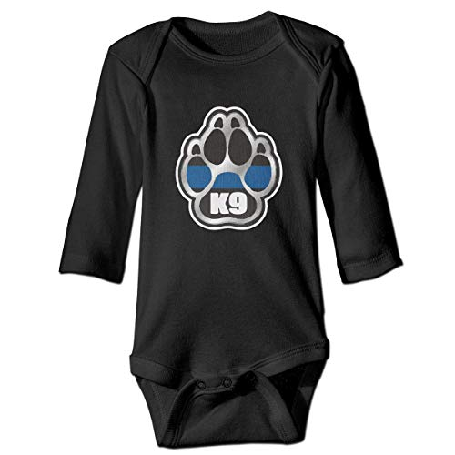 Wave VV Toddler Police K9 Thin Blue Line Long Sleeve Climbing Clothes Bodysuits, Suit 6-24 Months