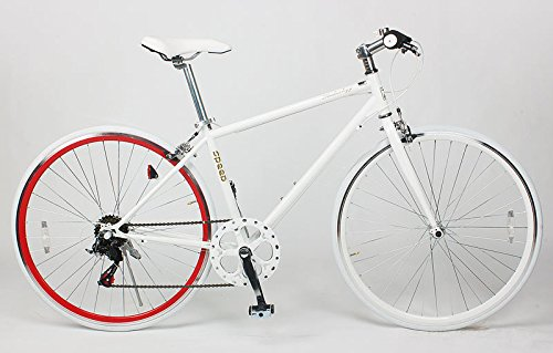 21Technology Crossbike[CL266] クロスバイク シマノ製6段変速ギヤ付き 700×28C B009KF11ZE ホワイトレッドリム ホワイトレッドリム