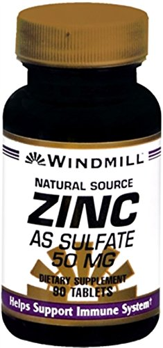 Windmill Zinc 50 mg Tablets Natural Source 90 Tablets (Pack of 9) (Vitamins Windmill Lozenges)