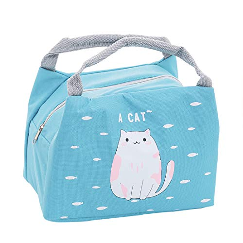 Oyachic Cute Thermal Animal Lunch Bag Insulated Tote Leakproof Zipper Bag with Foil Liner for Office, School and Picnic (cat) ()