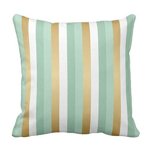 GOOESING Mint Green and Gold Stripes Throw Pillow Case