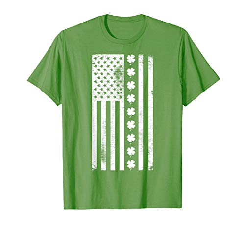 St Patricks Day Irish Shirt | USA Flag Shamrocks Lucky Green