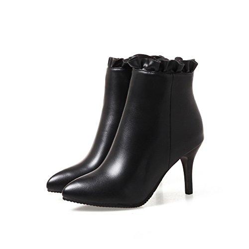 Balamasa Donna Con Tacco A Spillo Stiletto Ruffles Ankle High Boots In Uretano Abl10550 Nero