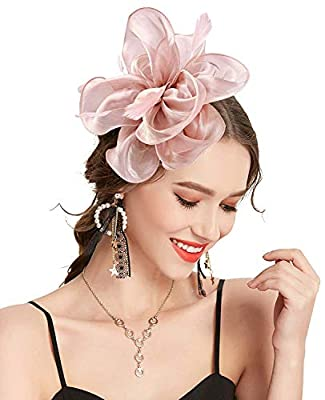 Fascinators Hat Feather Mesh Net with Headband and Hair Clip Headwear for Girls Womens