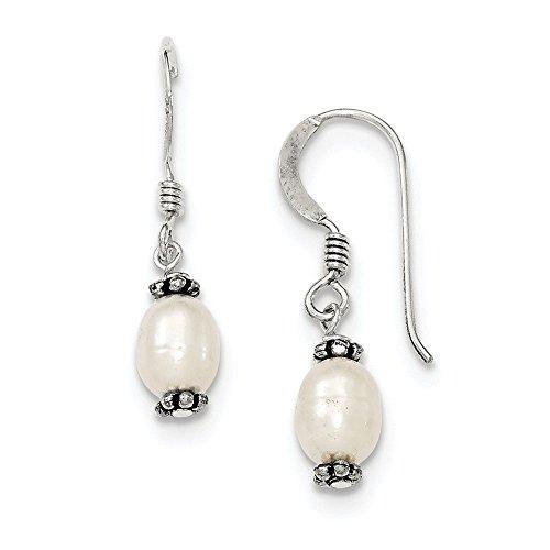 Shepherd hook Antique finish White Freshwater Cultured Pearl Marcasite Bead Dangle -
