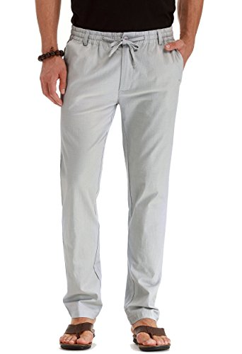 Mr.Zhang Men's Drawstring Casual Beach Trousers Linen Summer Pants Gray-US ()