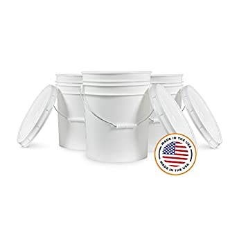 5 Gallon White Bucket & Lid - Set of 3 - Durable 90 Mil All Purpose Pail - Food Grade - Plastic Container