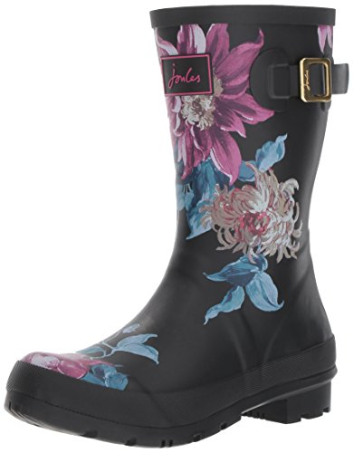 Joules Womens Molly Welly Rain Boot Black Clematis SuJM0sKS