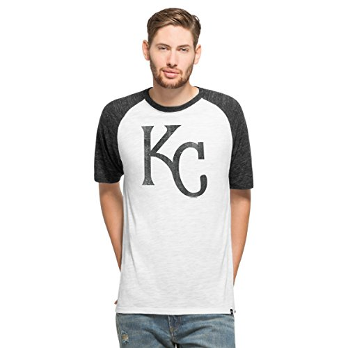 ('47 MLB Kansas City Royals Men's Team Tri-State Raglan Tee, Medium, White Wash)