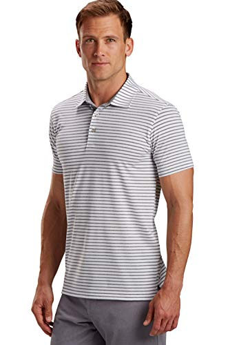 R18 Tech Control Stripe Golf Polo Shirt - Short Sleeve Striped Technical Polo Shirt for Men - Tailored Fit Tech Apparel White