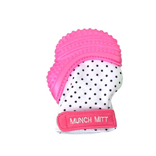 Malarkey Kids Munch Mitt Teething Mitten - The ORIGINAL Mom-Invented Silicone Teether Mitten with Travel Bag - Ideal Teething Toys for Baby Shower Gift - Pink Polka Dot