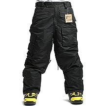 SOUTH PLAY Mens Premium Waterproof Ski SnowBoard Wear Pants Trousers SOLID BLACK