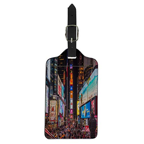 Pinbeam Luggage Tag New York Usa November 17 Billboards in Times Suitcase Baggage Label