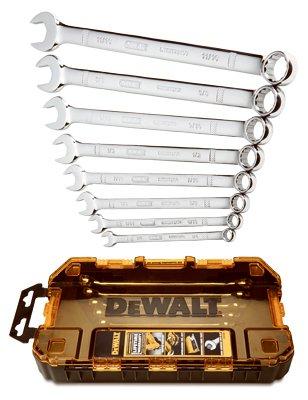 DEWALT DWMT73809 Tough Box Tool Kit SAE Combination Wrench Set, 8 Piece