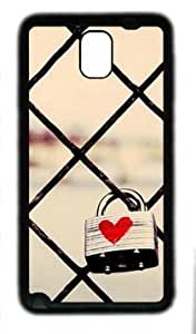 Abstract Love lock customized Hard samsung galaxy note 3 N9000 TPU Black Case