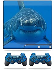 MightySkins Skin Compatible with Sony Playstation 3 PS3 Slim Skins + 2 Controller Skins Sticker Shark
