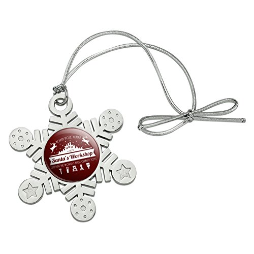 (GRAPHICS & MORE Santa's Workshop Logo Christmas Toys North Pole Alaska Metal Snowflake Christmas Tree Holiday Ornament)