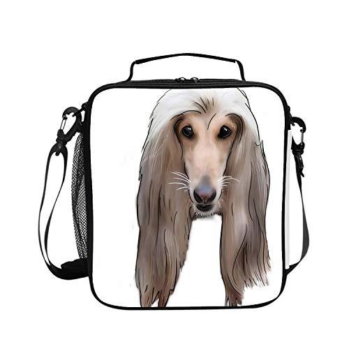 - Levendem Universal Sleeve Lunch Bag Afghan Hound Dog Kids Handbag Food Carrying Case Protector Handle