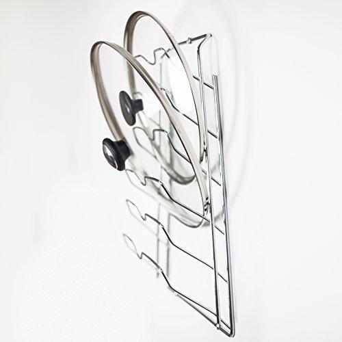 HUJI Wall Cabinet Door Mounted Pot Lid Rack Organizer (1, Chrome)