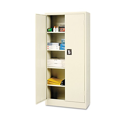 Alera 30 Inch Storage Cabinet - Alera ALECM6615PY Space Saver Storage Cabinet, Four Shelves, 30w x 15d x 66h, Putty