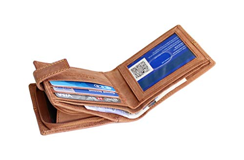 edcfc7a59a264 Starhide Men s Designer RFID Blocking Distressed Hunter Real Leather Wallet  Zip Coin Pocket Purse 1044-