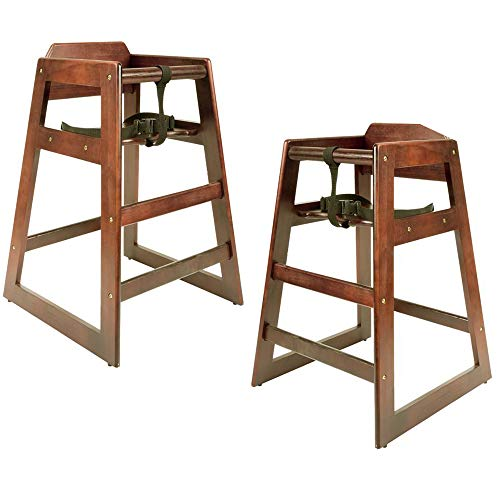 (2 Pack) Baby High Chair, Stacking Restaurant Wood High Chair with Walnut Wood Finish, Unassembled, High Chairs for Babies and Toddlers by Tezzorio