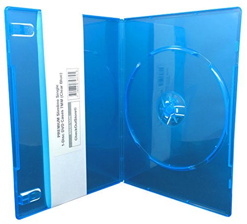 (12) CheckOutStore PREMIUM Slimline Single 1-Disc DVD Cases 7mm (Clear Blue)