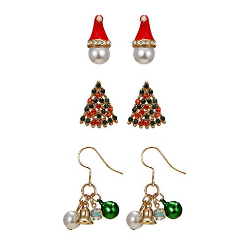 AILUOR Colorful Christmas Drop Dangle Earrings Set, Jewelry Set for Thanksgiving Womens Girls Kids Including Xmas Missing Hat Christmas Tree Jingle Bell Earrings Themed Gift (3 Pairs)