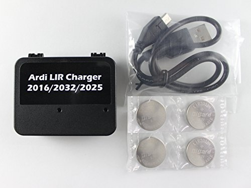 Ardi LIR 2032 Rechargeable USB Coin Cell Charger. 4 LIR2032 Batteries Included